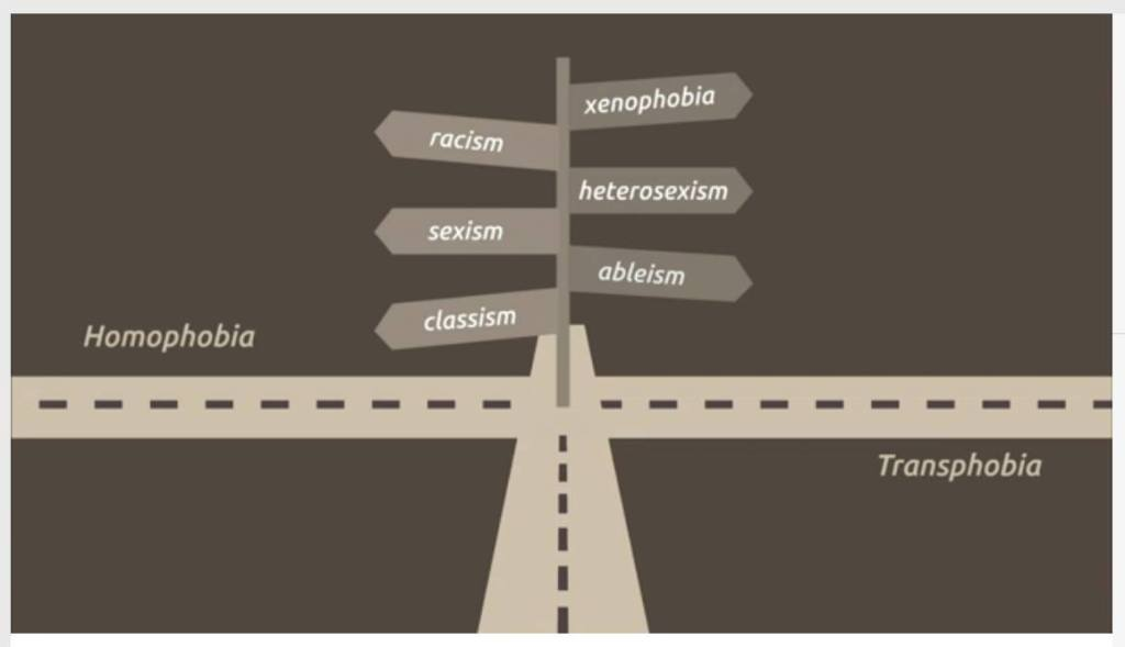 Beige back background, showing a drawing of a crossroads (4 streets coming together] At the point where the roads intersect, are signs leading to different directions. The signs read: racism, sexism, classism, xenophobia, heterosexism, ableism. The left road has the word homophobia on top of it. The road on the right has the word Transphobia beneath it.